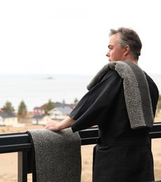Bathrobe 122s black-grey