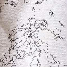 Linen towel with WORLD map print