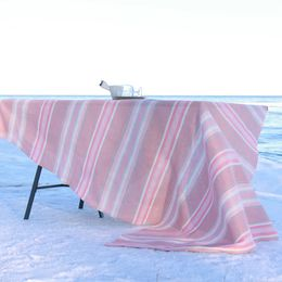 Tablecloth light 155x230 45L respberry, striped