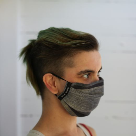Linen Face Mask 39L grey stripe